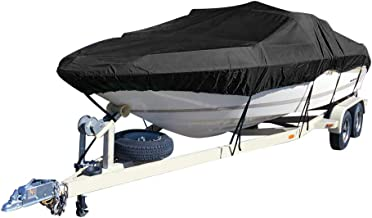 kemimoto Trailerable Boat Cover, Heavy Duty 600D Waterproof Runabout Boat Cover, Fit V-Hull Tri-Hull Fishing Ski Pro-Style Bass Boats, Full Size, 14ft- 16ft / 17ft- 19ft