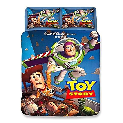 XWXBB Niciyo Toy Story - Juego de cama de 3 piezas con funda de edredón y 2 fundas de almohada, grueso y suave (A13, 140 x 210 cm)