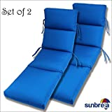 Comfort Classics Inc. Set of 2-22x74x5 Sunbrella Indoor/Outdoor Fabrics in Pacific Blue CHANNELED Chaise Cushion