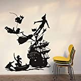 Peter Pan barco pirata calcomanía de pared para niños habitación niño sueño dibujos animados vinilo impermeable pegatina de pared para el hogar papel tapiz A5 54X42cm