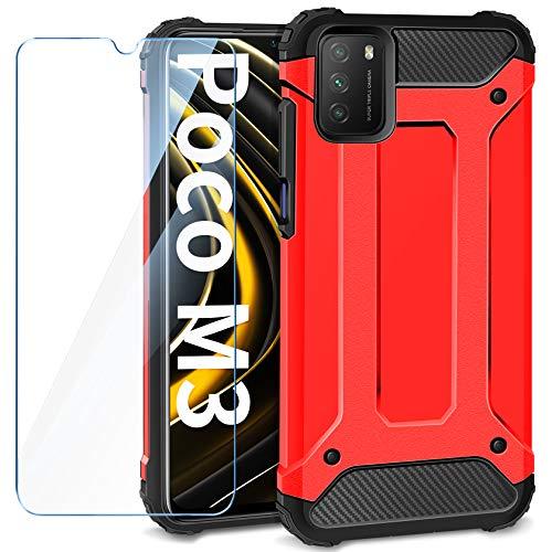 AROYI Funda Compatible con Xiaomi Poco M3 con Protectores Pantalla Cristal Templado, Robusta Carcasa Híbrida TPU y PC de Doble Capa Anti-arañazos Caso para Xiaomi Poco M3, Rojo