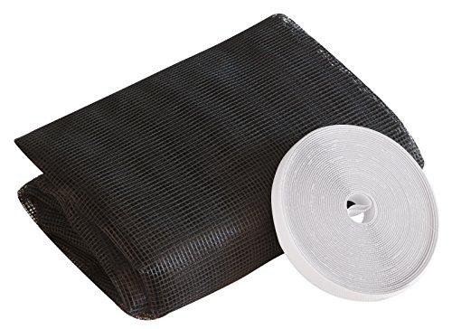 Windhager Insektenschutz Plus Fliegengitter für Fenster, Insektenschutzgewebe, Fliegennetz, individuell zuschneidbar, inkl. Montage-Klettband, 130 x 150cm, anthrazit, 03499