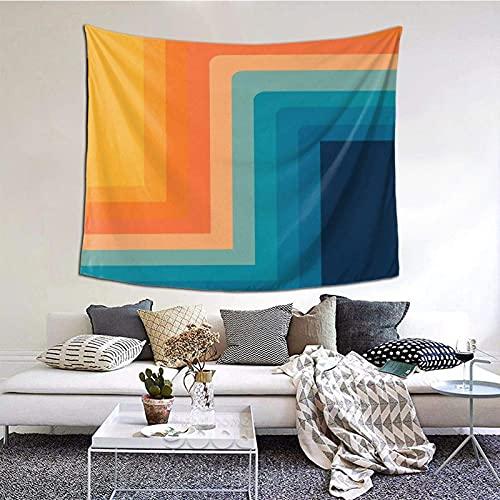 Tapiz para colgar en la pared, estilo retro de los años 70 líneas de color tapiz de 156 x 150 cm, estilo bohemio, para colgar en el dormitorio, sala de estar, decoración del hogar