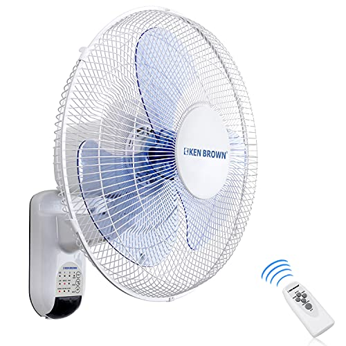KEN BROWN 16 Inch Wall Mount Oscillating Fan With Remote,3 Speed,3 Modes,65 Inches Power Cord, White,ETL Safety Listed