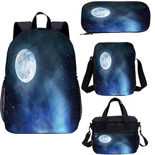 Juego de mochila para adolescentes de 15 pulgadas, juego de bolsas escolares de luna llena estrellada para el trabajo, la escuela, los viajes, el picnic