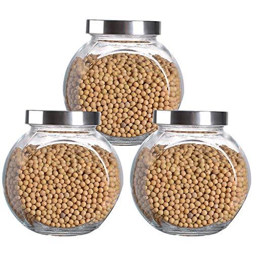 XLGJCWQY Glas-Keksdose mit Schraubdeckel und Aufbewahrungsfenster, Bpa-frei durchsichtige stapelbare Aufbewahrungsbehälter für Lebensmittel für die Speisekammer (Farbe: 1400 ml, Größe: X3)