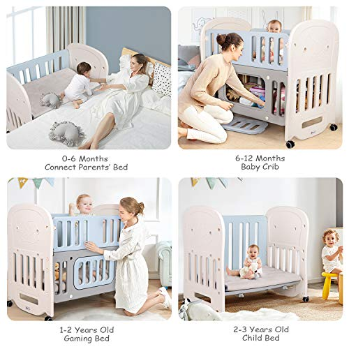 Hadwin Baby Cot Bed with Storage Space & Detachable Wheels, Travel Cot Converts into a Bedside Cot Co-Sleeping, Baby…