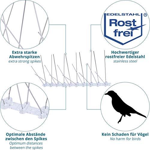 12x pic anti pigeon -3m répulsif pour oiseaux, écureuils et chats - dissuasif pour le haut des clôtures, balcon, toit et antenne TV + ruban adhésif