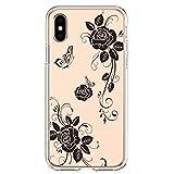 Coque de protection pour iPhone XS MAX en silicone souple transparent souple TPU ultra mince fleurs...