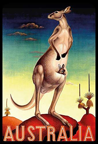 Schatzmix Australia Kangeroo Australien Metallschild 20x30 Deko tin Sign Blechschild, Blech, Mehrfarbig, 20x30 cm