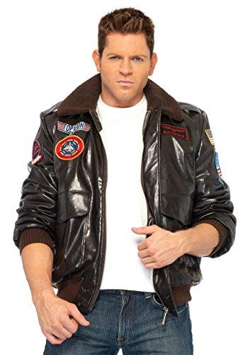 Leg Avenue Men's Top Gun Bomber Jacket, Brown, Medium