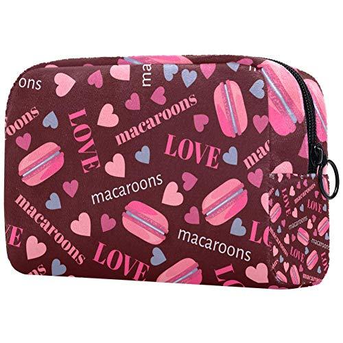 Tasty Macarons Coeurs et LovePortable Maquillage Sacs Cosmétiques Imprimés Sac Cosmétique Sac de Voyage pour Femmes
