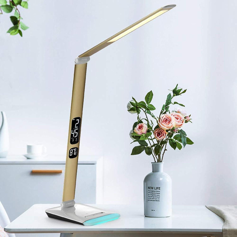 TYXWZL Creative Light Unique Fold Leselampe, Eye Caring Tischlampe für Bürobeleuchtung Multifunktions-, stufenlose Dimmung mit Wecker Tischlampen