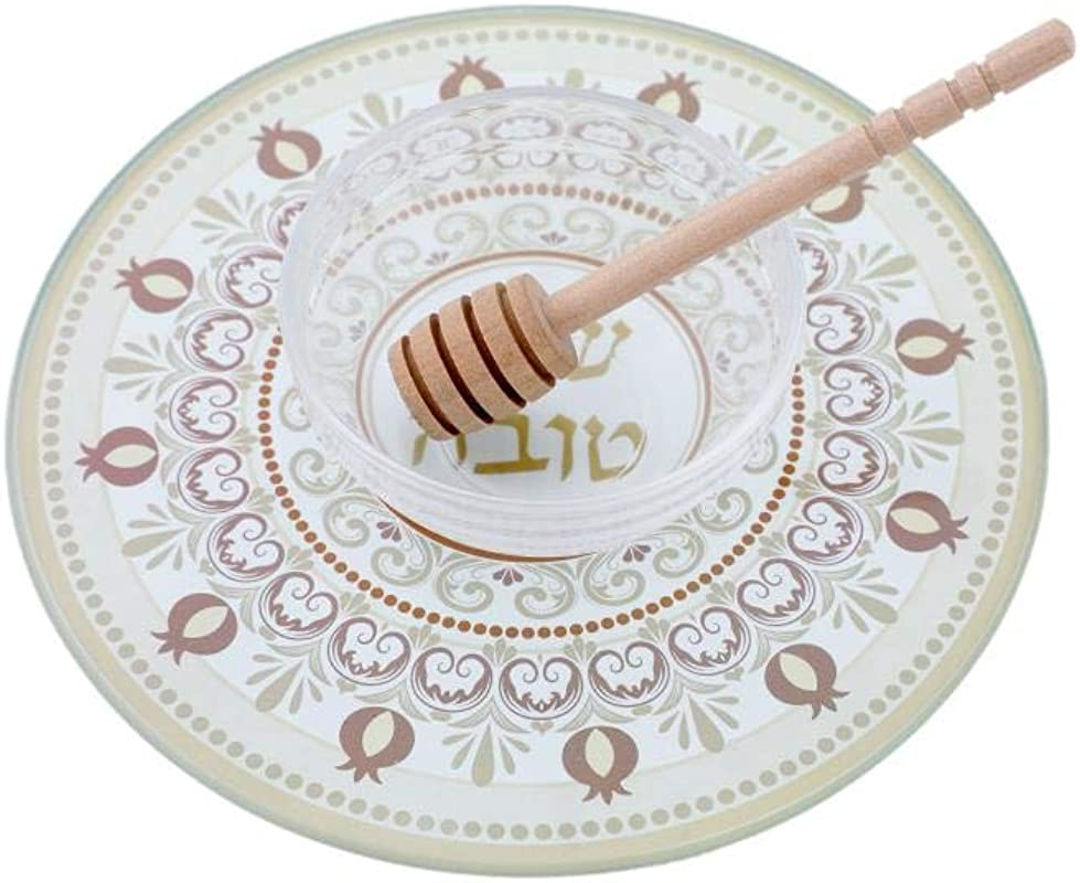 Quality Judaica Modern Glass Apple And Honey Dish For Rosh Hashanah Brown
