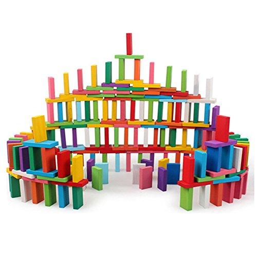 Centtechi 120PCS Wooden Dominos Blocks set, colorato per bambini gioco educativo giocattolo, Macchina da corsa gioco di costruzione e da impilare