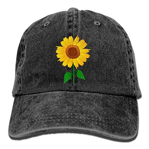 Waldeal Girls' Printing Sunflower Vintage Washed Dad Hat Cute Teen Baseball Cap Black