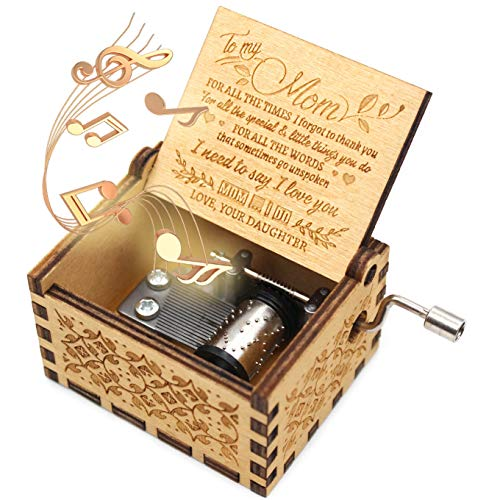 ukebobo Wooden Music Box- You are My Sunshine Music Box, from Daughter to Mother, Gifts for Mom,Newest Design Music Box - 1 Set