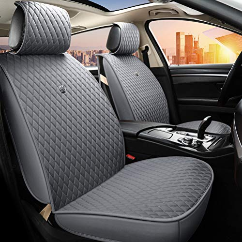 Gray Auto Seat Covers Universal Front and Rear Leather Seat Cover with Airbag Compatible 9PCS Car Seat Covers Fit Most Car Auto Suv (B-Light gray)
