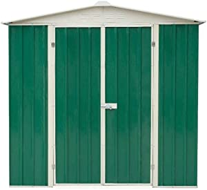 Abri métal 195x123 cm vert, toit 2 pentes