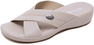 ChayChax Mules en Cuir Femme Été Mode Sandales Bout Ouvert Plates Compensées Pantoufles d'intérieur et extérieur Chaussons...