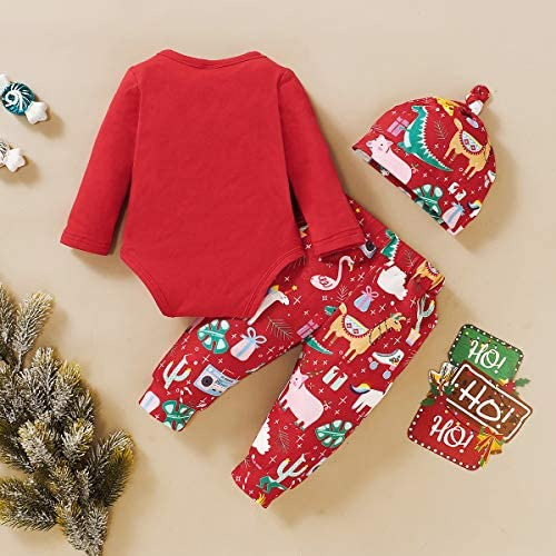 Haokaini 3PCS Baby Toddler Dinosaur Pattern Christmas Outfits Romper Pants Hat Clothes Set