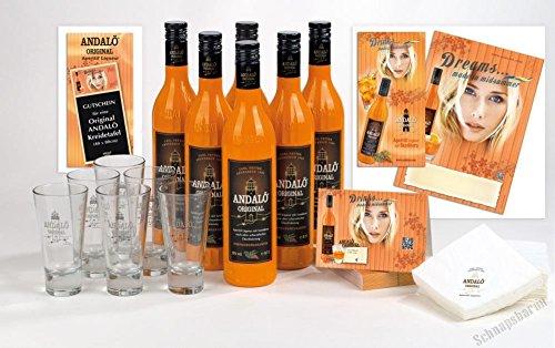 PiHaMi®Gastro Andalö 6 x 0,7l Andalö Sanddorn-Liqueur in der 0,7l Glasflasche 15% vol incl. 6 Gläser