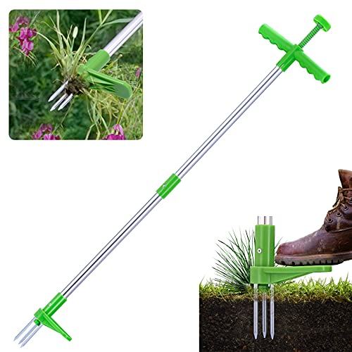GOTRAYS Weed Puller, Stand Up Weeder with Long Handle and 3 Stainless Steel Claws. Weed Puller Tool, Weed Removal Tool, Weeder Tool, Weed Remover, Manual Weeder, Root Removal Tool for Garden.