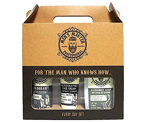Men's Master Ensemble-cadeau de rasage 3 pièces, Every Day Set, Déodorant Anti-transpirant, Crème Rajeunissant et Shampooing pour le corps et les cheveux, Ensemble-cadeau pour lui