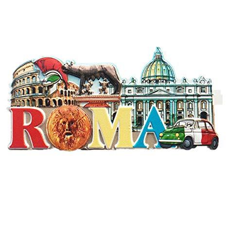 Imán para nevera 3D con 3 atracciones de Roma, Italia, regalo de recuerdo para el hogar y la cocina