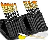 Jooheli 19 set di pennelli per pittura, set di pennelli per artista con borsa di tela, pennello per artista con 15 pennelli,tavolozza di miscelazione, spugna, spatola, set di pennelli per principianti