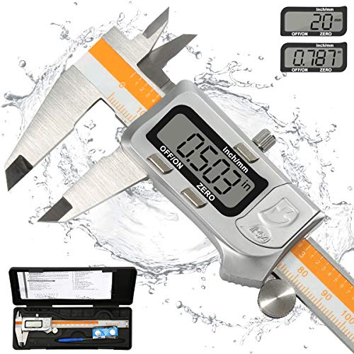"""Pied à coulisse numérique - Pied à coulisse numérique en acier inoxydable 0-6""""/ 0-150mm Outil de mesure de jauge d'épaisseur avec grand écran LCD (IP54 étanche)"""