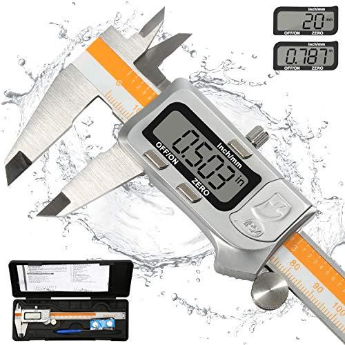 Calibre Digital Wukong, pie de rey digital 150mm/6Pulgadas Calibrador Profesional de Acero Inoxidable Resistente al agua y al polvo con Gran Pantalla LCD,Diámetro Interior y Diámetro Exterior Medibles