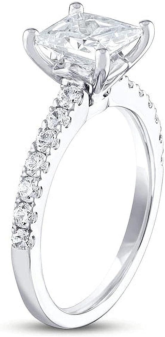 Moissanite Engagement Rings Engagement Rings For Women White Gold Halo Princess Cut 1 Carat(1 CT) Free Engraved 10K 14K 18K