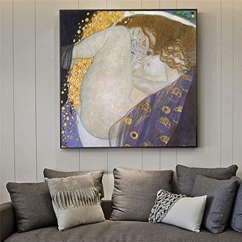 Retrato de Danae Golden Wall Art Canvas de Gustav Klimt Pinturas en la pared Reproducción Cuadros Cuadros para sala de estar-Pintura de Diamante 5D de bricolaje-Regalo de Navidad