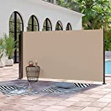 Abba Patio Retractable Folding Side Awning Screen Fence Privacy Divider with Steel Pole, 5.2'H, Beige