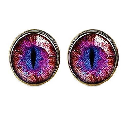Pendientes de ojo de gato, color rojo y morado