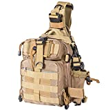 Himal Fishing Tackle Storage Bag,Outdoor Shoulder Backpack,Fishing Gear Bag,Waterproof Shoulder Backpack Cross Body Sling Bag with Rod Holder,Khaki
