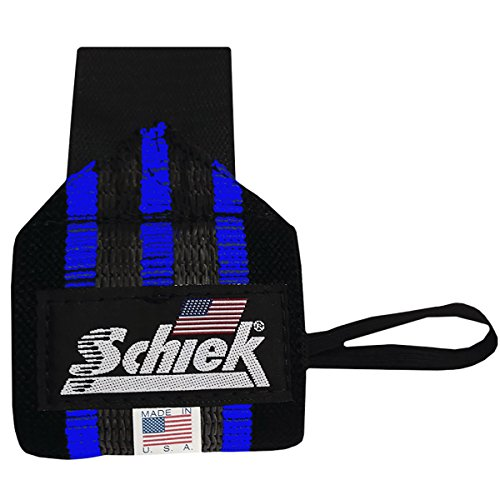 Schiek Sports Blue Line Heavy Duty Rubber Reinforced Wrist Wraps -18'-Black/Blue