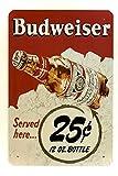 DiiliHiiri Cartel de Chapa Vintage Decoración, Letrero A4 Estilo Antiguo de metálico Retro. (Budweiser)