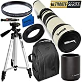 Ultimaxx 650-1300mm (with 2X- 1300-2600mm) Telephoto Zoom Lens Kit for Nikon D7500, D500, D600, D610, D700, D750, D800, D810, D850, D3100, D3200, D3300, D3400, D5100, D5200, D5300, D5500, D5600, D7000