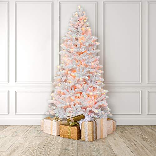 MARTHA STEWART Flocked White Pine Pre-Lit Artificial Christmas Tree, 7.5 Feet, Multicolored Lights