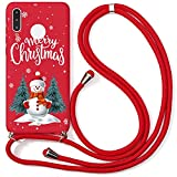 Yoedge Coque Collier pour Huawei Honor Play 5T Youth 4G, Rouge Silicone Etui avec Motif Cerf de...