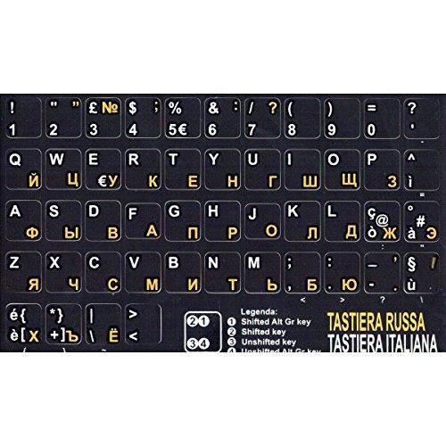 AdesiviTastiera.it- Pegatinas para teclado, fondo negro y letras amarillas (ruso/ucraniano) blancas (italiano)