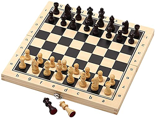 N\C Juego de ajedrez Internacional con Piezas de ajedrez de Madera magnética, Tablero de ajedrez portátil Plegable, Juegos de ajedrez de Viaje para Adultos y niños, 2 Reinas Extra Extra QZQQ