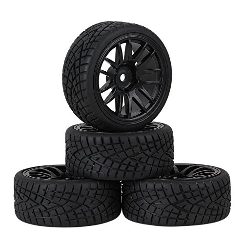 Mxfans 12mm Hex Black Plastic 14-Spoke Wheel Rims & Black Striped Pattern Rubber Tires for RC 1:10 On Road Racing Car Pack of 4 20604