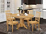 East West Furniture dining set 4 Fantastic kitchen chairs - A Gorgeous pedestal dining table- Oak Color Wooden Seat Oak Butterfly Leaf modern dining table