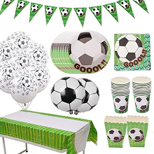 Amycute Forniture per Feste di Calcio, Tovaglia Calcio, Tovaglioli, Piatti, Tazza e Palloncini per Calcistico Festa a Tema Feste di Compleanno per Bambini