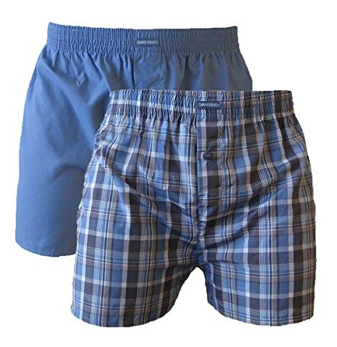 Carlo Colucci Herren Unterwäsche 2 Pack Boxer-Short GEWEBT, Twin Pack, Farbe: Blau, Größe: XL