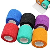 Romlon Tattoo Grip Tape Wrap 6Pcs 2In Disposable Adhesive Tattoo Machine Tape Wrap Self-Adhesive Bandage Rolls Elastic Handle Grip Wrap for Tattoo Machine Grip Parts Sports Tape Mix color