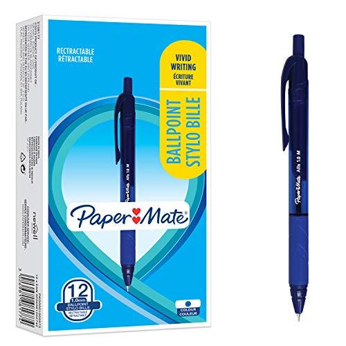 PaperMate Stylos à bille Alfa rétractable | Pointe moyenne (1,0mm) | Encre bleue | Lot de12